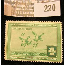 1938 RW5 Duck Stamp, Unsigned, hinged, good value.