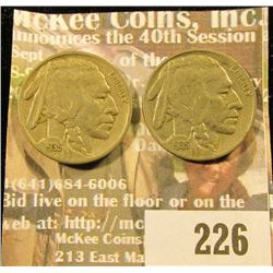 Bag of two high quality 1935 Buffalo Nickels.
