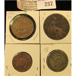 Great Britain Coins: 1940 Half Penny, 1904 Large Penny, 1961 New Penny, & 1920 Silver Shilling.