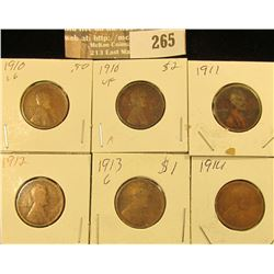 (2) 1910 P, 11P, 12P, 13P, & 14P Lincoln Cents.