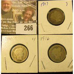 1913P, 14P, & 16P U.S. Barber Silver Dimes.