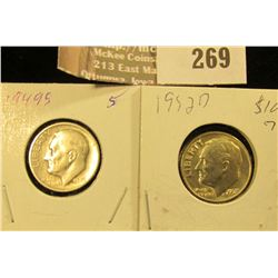 1949 S Circulated & 1952 D BU Silver Roosevelt Dimes.