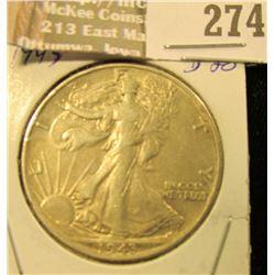 1943 P Walking Liberty Half Dollar, EF.