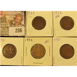 1928, 32, 40, 41 & 42 Canada Cents, Nice Grades.