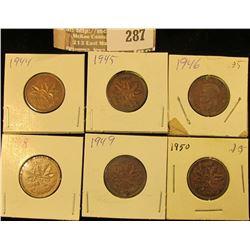 1944, 45, 46, 48, 49 & 50 Canada Cents, Nice Grades.