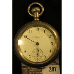 Elgin National Watch Company Men's Open face Pocket Watch with Engraved Locomotive Silverode case. M