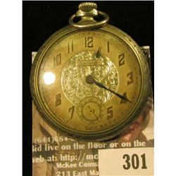 "Vanburen Watch Co. 15 jewels open face silver-colored Pocket Watch, ""SWISS"", runs excellent. Open Fa"