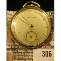 Bulova Men's Pocket Watch, open face, I couldn't open back lid quickly so will leave it to you to lo