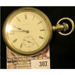 Silver Open Face Men's Pocket Watch. Elgin. Lid: Illinois Watch Case Co. Nickel Elgin U.S.A. 291441,