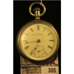 Silver Open Face Men's Pocket Watch. American Waltham Watch Co. Nickel lid 359140, movement 6940889.