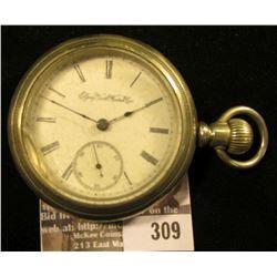 """Elgin National Watch Co."" silver-colored Open Face Pocket Watch Silver Ode case Philadelphia Watch"