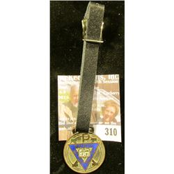 "Watch Fob with leather strap ""INT.COM Y.M.C.A. Pat'd Feb.16, 1897"", Spirit, Mind, Body on Triangle S"