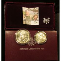 1998 S U.S. Mint issued Kennedy Collector Two-Coin Set. Brilliant Uncirculated Silver Dollar and Mat