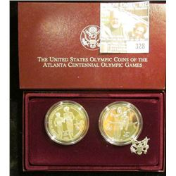 1995 U.S. Olympic Coins of the Atalanta Centennial Olympic Games Two-Coin Silver Proof Set. Gymnast