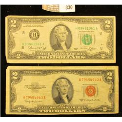 "Series 1953C $2 U.S. Note ""Red Seal"" & Series 1976 $2 Federal Reserve Note."