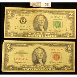 "Series 1963A $2 U.S. Note ""Red Seal"" & Series 1976 $2 Federal Reserve Note."