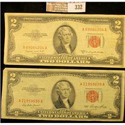"Series 1953 & 53B $2 U.S. Notes ""Both Red Seal""."