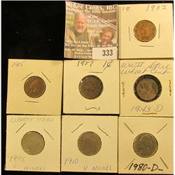 1902, 05, & 07 Indian Head Cents; 1943 D Cent; 1895 & 1910 Liberty Nickels; & 1980 D Jefferson Nicke