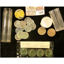 (13) 1943 P Steel Cents; (2) 1944 D & (2) 45 D Silver War Nickels; 1949 P Jefferson Nickel; & an Old