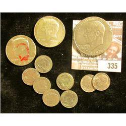 (7) Roosevelt Dimes; 1965 & 66 40% Silver Kennedy Half Dollars; & 1976 P Type One Eisenhower Dollar.