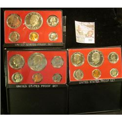 1974 S, 75 S, & 76 S U.S. Proof Sets. All original as issued. CDN bid is $22.50.