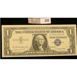 Series 1957A $1 Silver Certificate, AU.