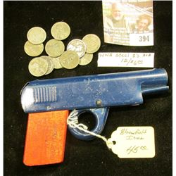 "(12) World War II Steel Cents; & a toy ""Model ""M"" Pistol Knock-on-Wood Industries, Ltd., Bloomfield,"