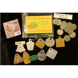 "(10) different Old Dog Tags; Advertising Mirror ""Melon City Antique Mart…Muscatine, Iowa…""; & (12) O"