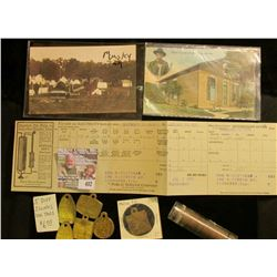 "(6) Different Illinois Dog Tags; Post card ""Citizen RR & Light Co. on Trolley Electric Park""; 1920 N"