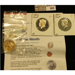 1999 P Susan B. Anthony Gold-plated Dollar Coin with literature; 1981 S Proof & 1984 S Proof Kennedy