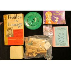 "c.1972 ""Mini Make-up Mirror""; ""Puzzle Jeep""; 1920 era ""Teazer Wood Puzzle""; 35c Paperback Book ""Prof"