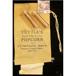 "Unused Cloth Bag ""Tuttle's Hybrid White Hull-Less Popcorn from R.M. Tuttle Popcorn Co. -Spencer, Ia."