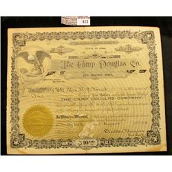 "No.36 Stock Certificate for One Share ""The Camp Douglas Co. Des Moines, Iowa"" complete with Gold Not"