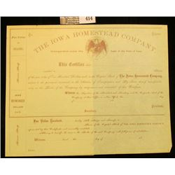 "Unissued 1800 era Stock Certificate ""The Iowa Homestead Company Incorporated under the Laws of the S"