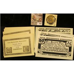 "(7) 1938-1988 ""Iowa Numismatic Association 50 Years Half Centennial Dollar"" Scrip, ""This Souvenir No"