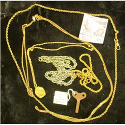 Lion & Elfy Wind ups Key; 1/2c 12K Gold Chain with Gold-filled Locket; braided Gold-filled Chain; si
