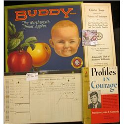 "1862 Collector's Office, Muscatine, Iowa Tax invoice; colorful Apple Box Label ""Buddy Brand The Nort"