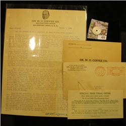 "Alabama State Sales Tax Token; letter on letterhead from Quack Doctor ""Dr. W.O. Coffee Co. 206 West"
