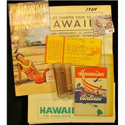 "Boarding Pass Charter to Hawaii dated 1964 for Pauline Carberry, Map, and label for ""Hawaiian Airlin"