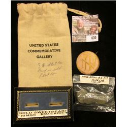 "Cloth Bag Draw String Bag ""United States Commemorative Gallery""; Two-Ring Display mount; ""NIF"" Pin-b"
