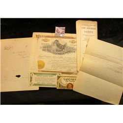 "Folded letter ""Bank of Chamby Aug. 7 1830""; 1920 era ""Automobile Road Map Touring Los Angeles and Vi"