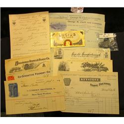 "(10) Different 1904-1916 Invoices from such companies as ""Peninsular Stove Co."", ""Belleville Stove &"