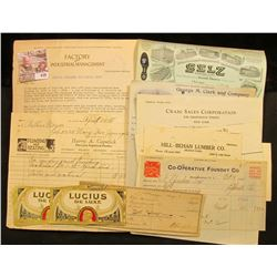 "(10) Various letters and invoices dating 1904-1938 and includes ""Selz Schwab & Co."", ""George M. Clar"