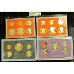 1980 S, 82 S, 83 S, & 90 S U.S. Proof Sets in original boxes as issued. CDN bid is $14.50.