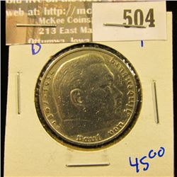 1935-D Silver German 5 Mark Coin With Von Hindenburg On The Front