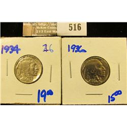 1934 And 1936 Buffalo Nickels
