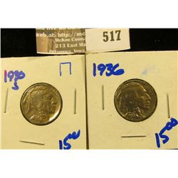 1930-S And 1936 Buffalo Nickels.  These Are Both High Grade Coins