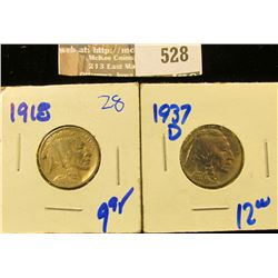 High Grade 1918 And 1937 Buffalo Nickels