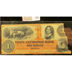 One Dollar Note From Corn Exchange Bank In Desoto, Nebraska.  It Was Printed In December 12th 1860
