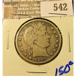 1897 Barber Half Dollar With Full Liberty